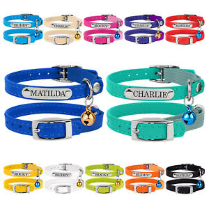 Leather-Cat-Collar-Optional-Personalised-ID-Tag-Safety-Elastic-Kitten-Collars