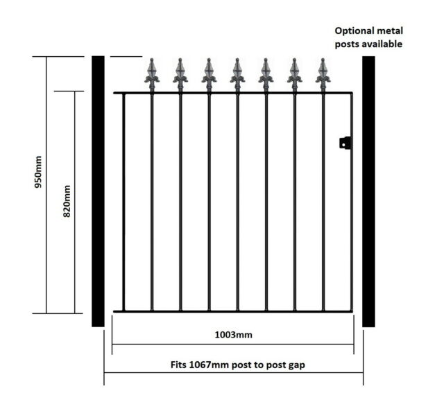 Salva Spear Top Tall Garden Side Gates 762mm to 1220mm gap Wrought Iron Metal