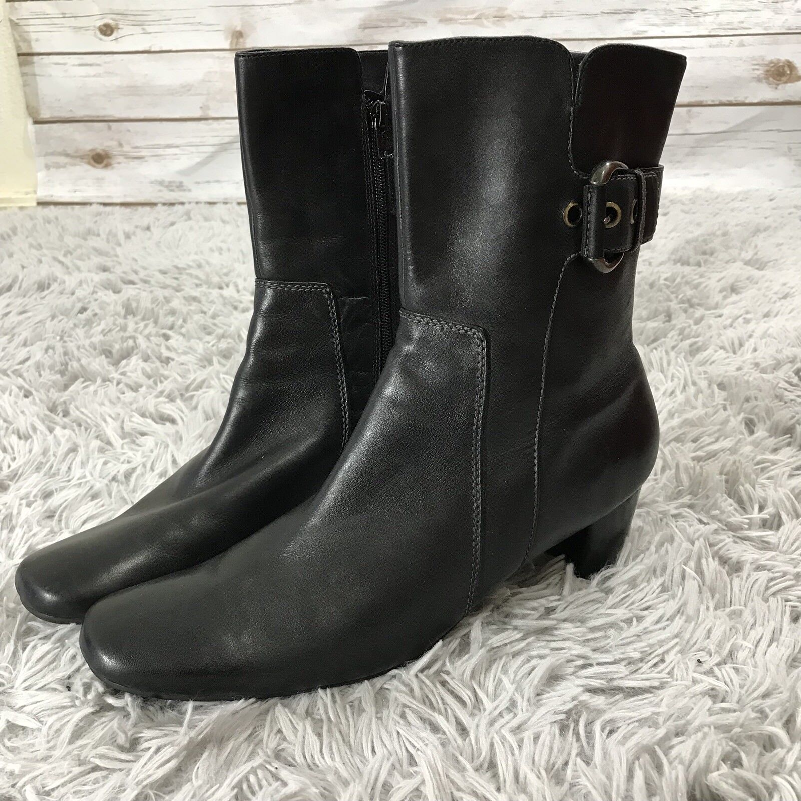 Ecco Black Leather Side Zip and Buckle Casual Ankle Boots Women's 42   11 - 11.5