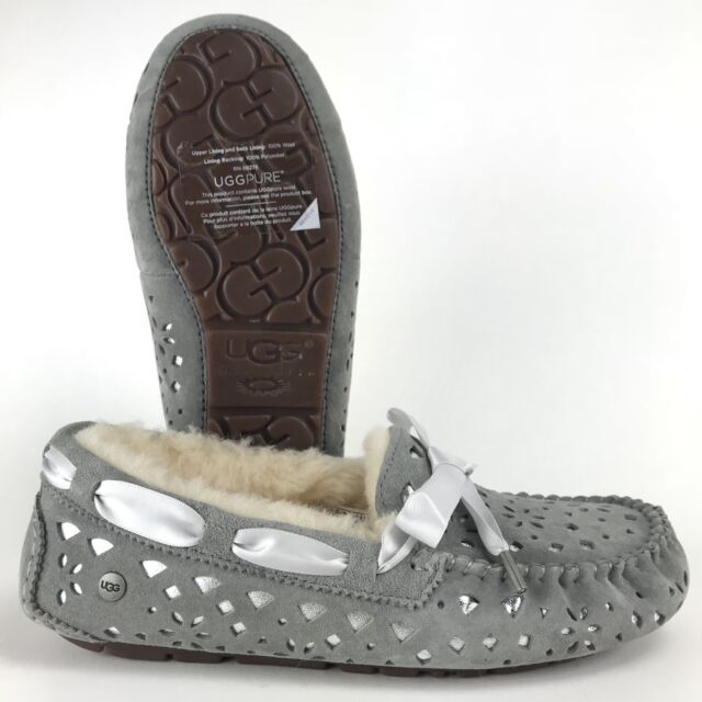 bb90265926d Details about UGG Dakota Sunshine Perf Seal Grey Suede Fur Slippers  Moccasins Size US 8 Womens