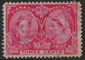 Scott-53-3c-Bright-Rose-QV-Jubilee-Stouffville-ONT-Squared-Circle-JU-30-97