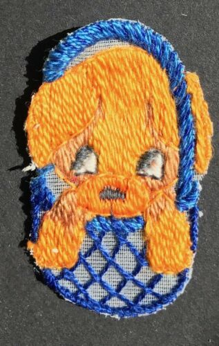 Lovely Vintage 1950s 4cm Puppy in a Basket Applique Patch