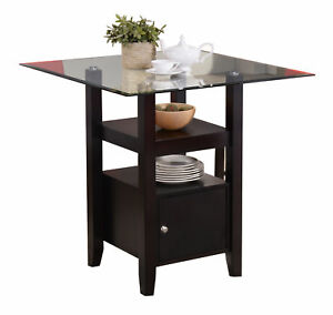 Cappuccino Finish Glass Top Counter Height Dining Table With