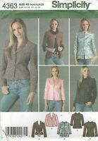 Simplicity 4363 Misses'/miss Petite Jacket & Variations 14 To 22 Sewing Pattern