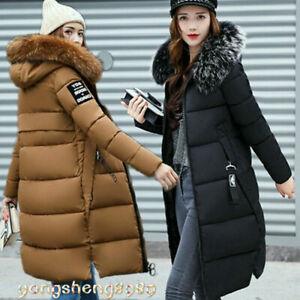 New-Women-winter-coat-Down-jacket-Ladies-fur-hooded-jackets-Long-puffer-parka-UK