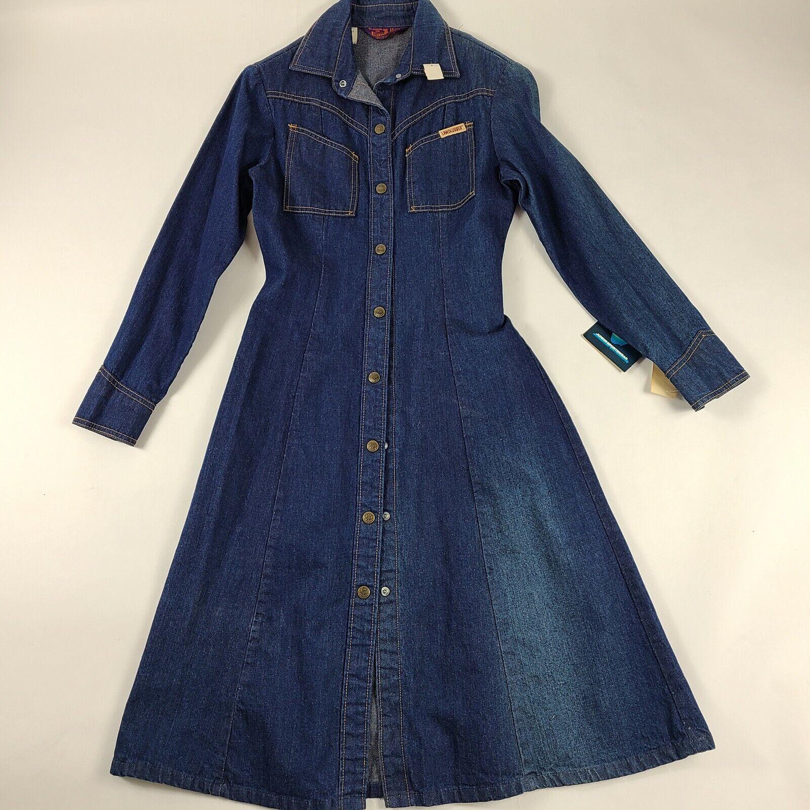 VINTAGE Landlubber Denim Midi Shirt Dress DEADSTO… - image 1