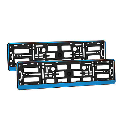 2 x Universal Number Plate Holders Surrounds Frames Any Car - Blue Effect