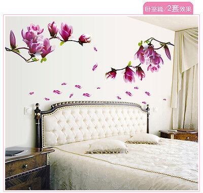 1pc purple magnolia Kids liveroom  Child Baby DIY removable Wall Decals  sticker