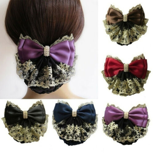 Floral Lace Satin Bow Hair Net Barrette Women Snood Hair Accessories Chic