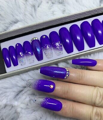 purple ombre coffin nails with glitter  nail and manicure