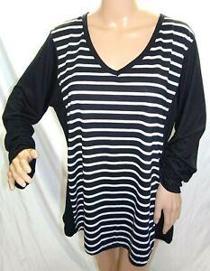 8e1bbf7014 Esperanza Women Plus Size 2x 3x Black White Striped Tee T Shirt Top ...