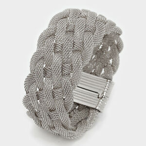 7-50-034-silver-mesh-bracelet-bangle-cuff-stack-magnetic-1-034-wide