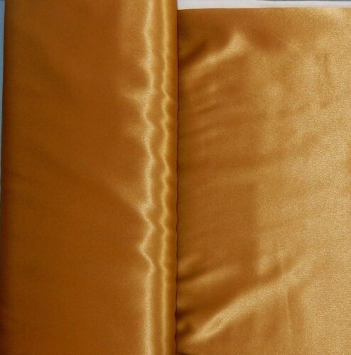 """By the Yard Yellow Gold Metallic Crepe Satin Carefree Polyester 58/"""" wide"""