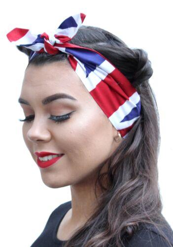 Bandera británica Inglaterra Vintage 50s Estilo Rockabilly Pañuelo Cabeza Bufanda