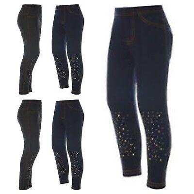 Thermo Leggings Pailletten Leggings Jeans Optik Mädchen Freizeithose Gr.80-134