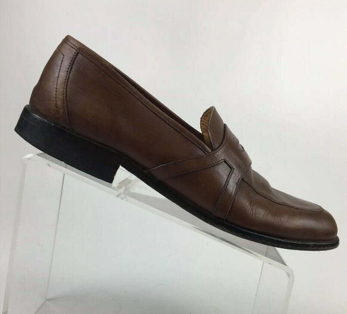 Johnston Murphy Men's Brown Leather Apron Toe Penny Loafer size 13M