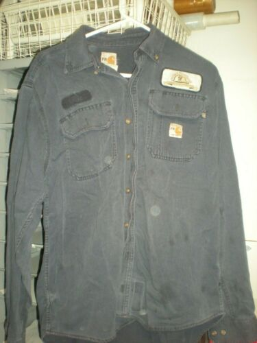 Carhartt Flame Resistant FR Work Shirts Navy Blue Cintas MEDIUM Good Condition