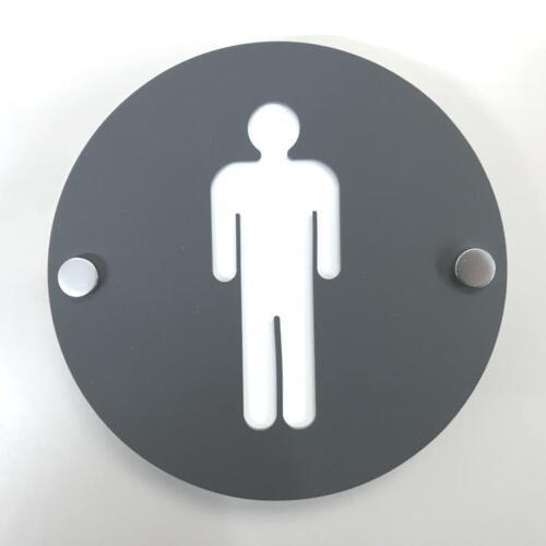 Round Male Toilet Sign Graphite Grey /& White Mat /& Chrome Fixings
