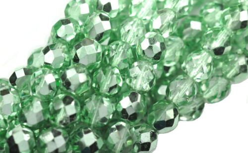 10 Mint Green Metallic Glass Faceted Fire Polished Round Beads 8MM