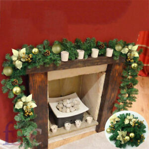 Details About 1 8m Xmas Tree Pine Stairs Fireplace Christmas Garland 6ft Cream Gold Decor Uk