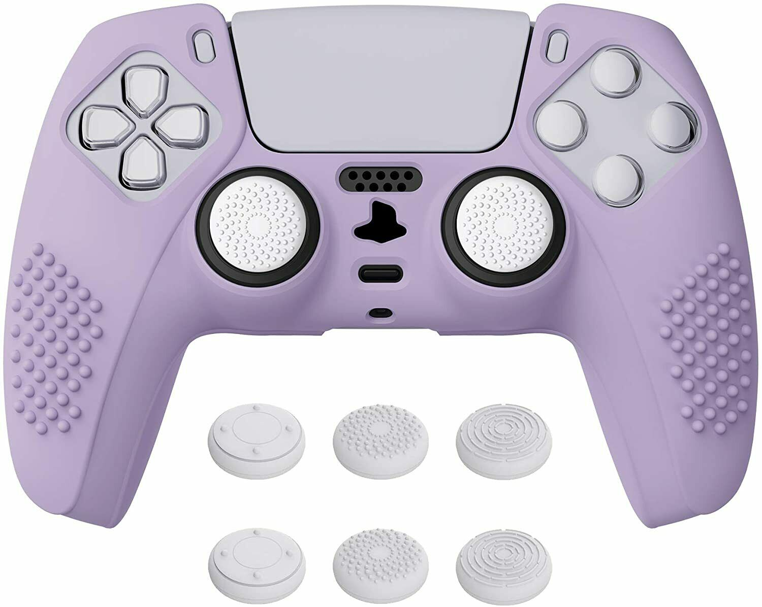 Silicone Cover Skin for PS5 Controller with 6 White Thumb Grip Caps