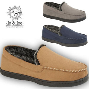 MENS-SUEDE-COMFORT-WARM-FUR-LINED-MOCCASINS-LOAFERS-SLIP-ON-SHOES-SIZES-UK-7-12