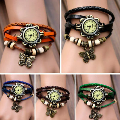 New Women Vintage Fashion Butterfly Bracelet Faux Leather Quartz Wrist Watch