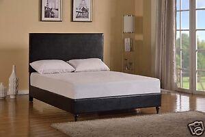 Black Leather Queen Size Platform Bed Frame Slats Modern Home