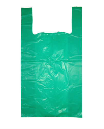 """1000 LARGE GREEN  VEST STYLE PLASTIC CARRIER BAGS 11/""""x17/""""x 21/"""" FREE DELIVERY"""