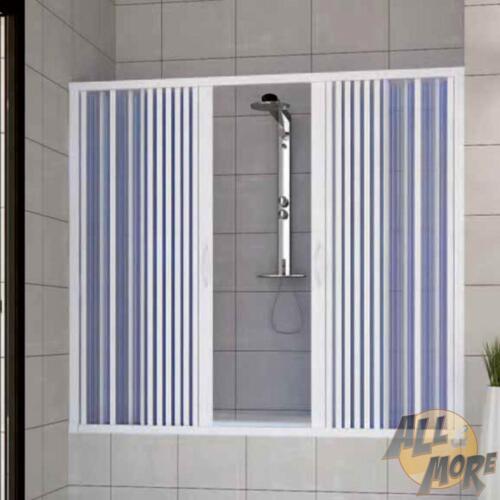 Over Bath Shower Enclosure Plastic PVC Folding Central Opening Doors Panel 1700 Mm