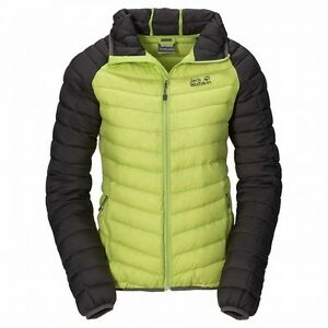Details about Jack Wolfskin Zenon XT Jacket Women, Ladies Down Jacket with Hood, Glowing Green show original title