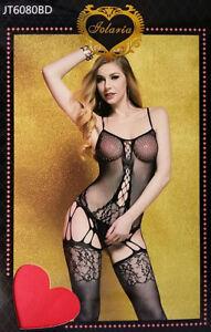 Bodystocking-sexy-donna-catsuit-Tuta-nera-aperta-lingerie-intimo-notte-sexy-HOT