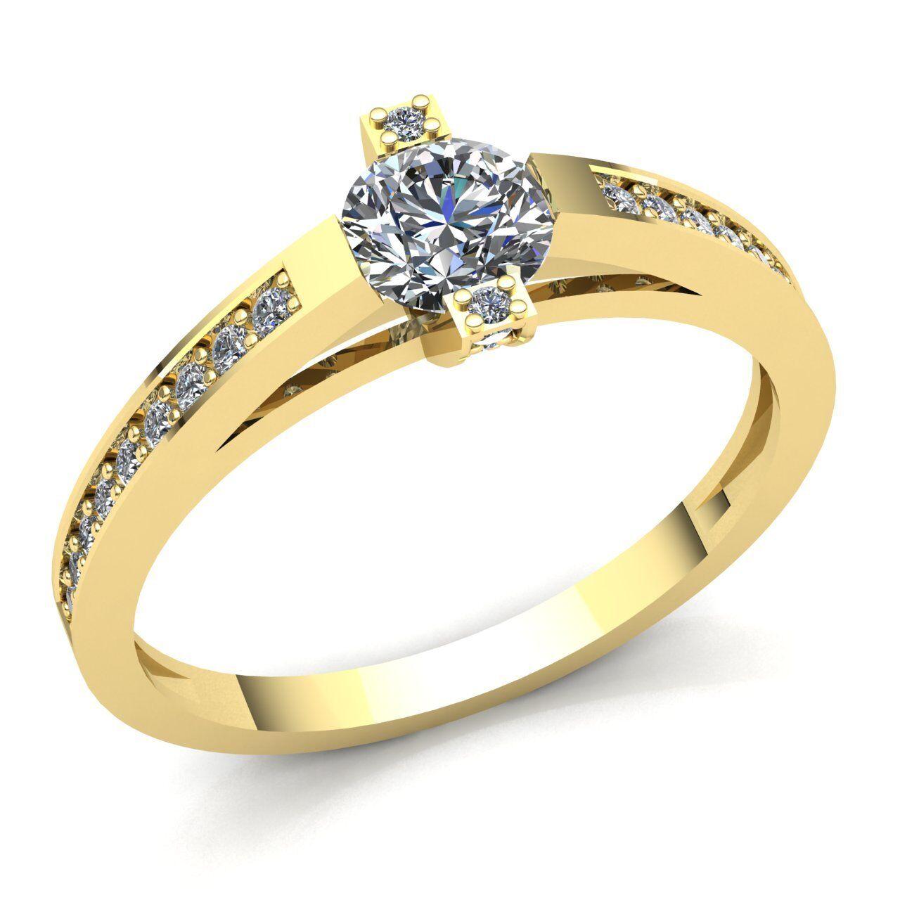 0.5carat Round Cut Diamond Ladies Accent Solitaire Engagement Ring 10K gold