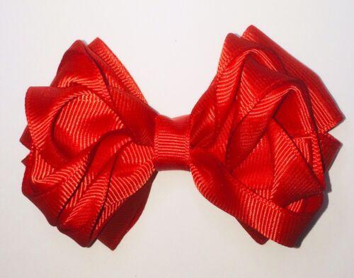 ROUGE VIF ROSEBUD hair bow clip nuptiale School Party sur pince crocodile
