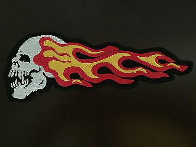 Death Head Scull&flames Patch Backpatch Xl 25,5x9,5cm5cm Mc Scull Biker Saio