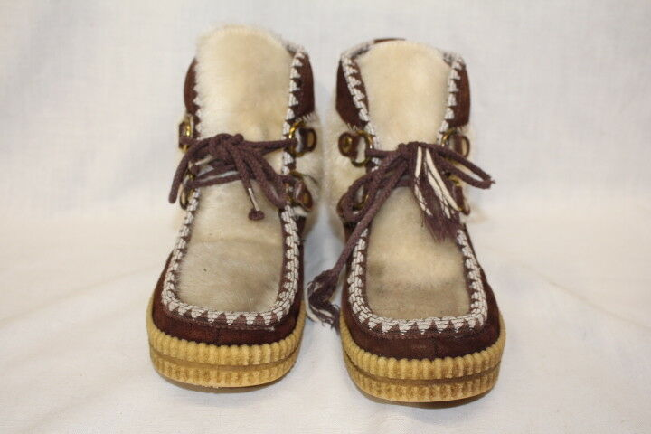 Brown Leather & Ivory Faux Fur Fur Fur Lined  Eskimo  Style Ankle Boots Womens, 7-B117 5bbf99