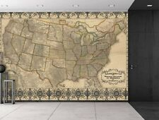 Railroad and Antique County Map of the United States c. 1876 -Wall Mural- 66x96