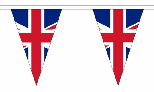 Union Jack UK Triangular Bunting 54 flags 20 metre Long Bunting