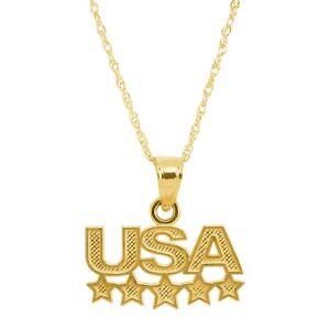 Eternity Gold USA Stars Pendant in 10K Gold, 18