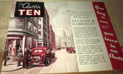 Cabriolet /& Saloon RARE 1938 AUSTIN TEN  Orig Sales Brochure