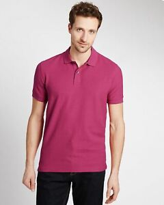 Mens-Marks-amp-Spencer-Polo-Shirt-Ex-Chain-Store-M-amp-S-Pink-Turquoise-Wine-Orange