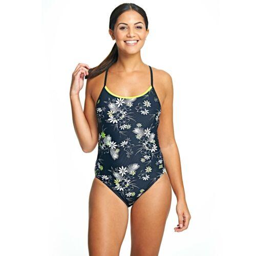 Zoggs Black Widow Womens Swimsuit Size 6 8 10 12 RRP £38 Flower Back Detail