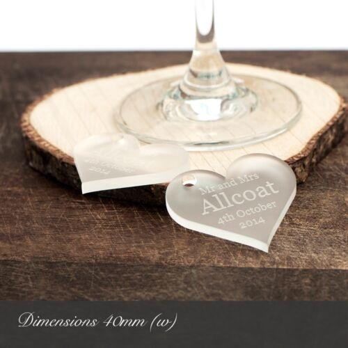 Personnalisé 4cm Transparent Givré Motif Cœur Acrylique Souvenirs De Mariage//