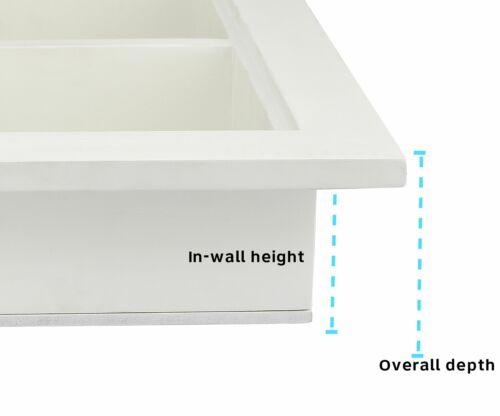 AdirHome White Wood Home Decor Bathroom Recessed Storage Wall Cabinet With Shelf