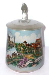 Old-Views-Mug-Nuremberg-Litho-Ak-Postcard-Art-Nouveau-Souvenir-Pitcher-Franken