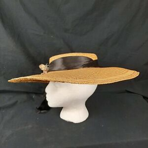 Vintage-Womens-Straw-Hat-Wide-Brim-Black-Silk-Ribbon-Artificial-Flowers-Flat-Top