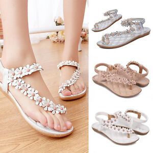 New-Fashion-Women-039-s-Bohemia-Shoes-Sandals-Flower-Casual-Thong-Flats-Girls-Shoes