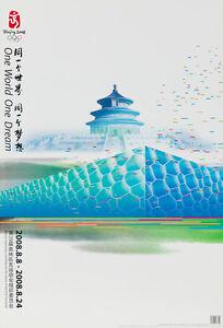 Original Vintage Poster Beijing Summer Olympics 2008 China Pavilion Monument Art