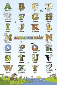 Animal-Alphabet-Alphabetimals-POSTER-60x90cm-NEW-learn-ABCs-bear-cat-dog-fish