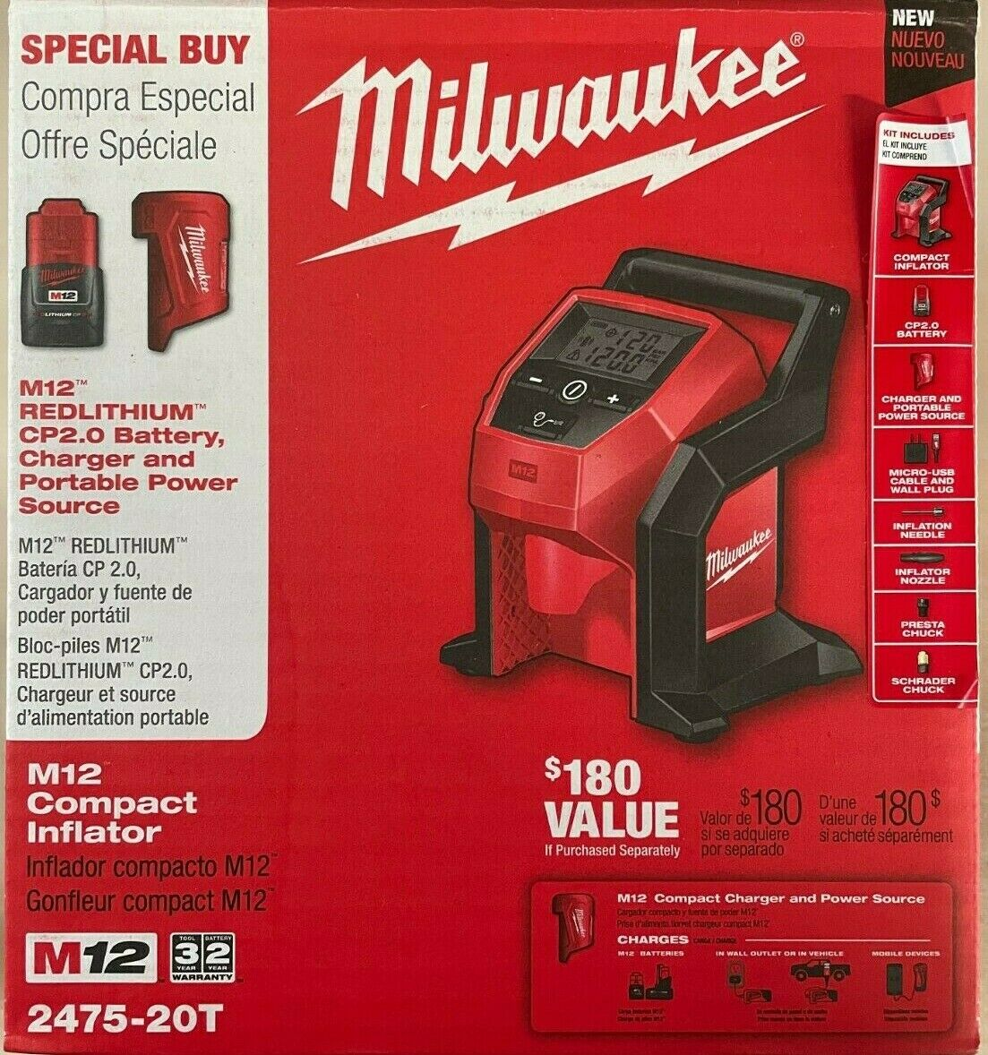 Milwaukee 2475-20T M12 Volt Cordless Inflator Kit w 1.5 Battery/Charger New. Available Now for 179.00